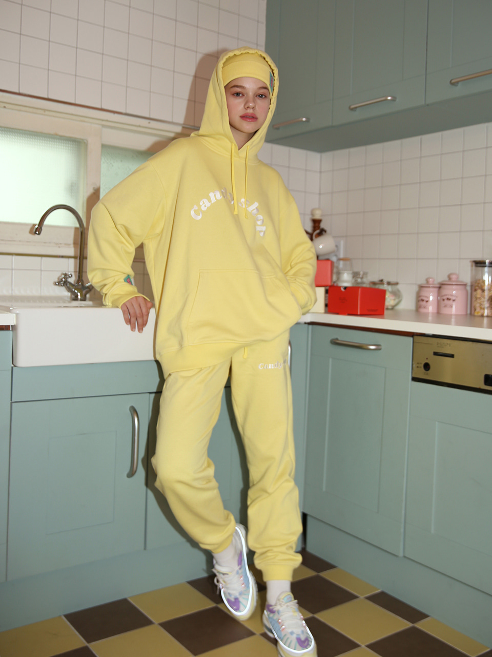 [10%SALE] Candy shop logo sweatpants - LEMON